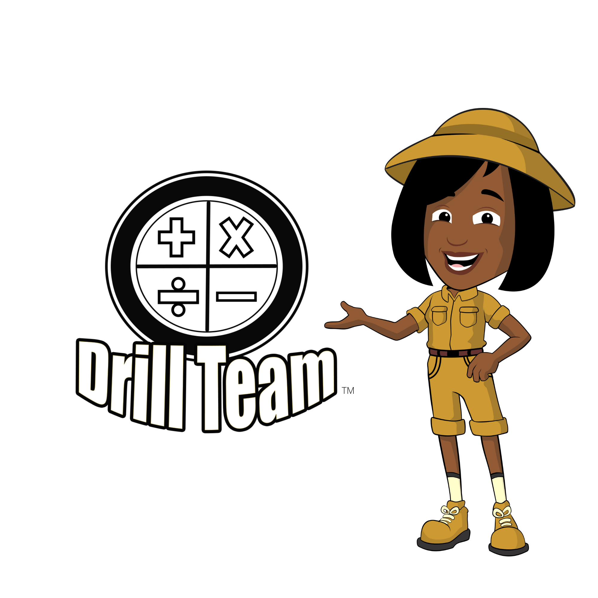 Animated Nicole the Math Lady character dressed in her Safari outfit for Drill Team Online Math Facts Program